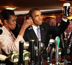 #44thPresident #BarackObama has Irish roots on his mother's side. #MichelleObama and #BarackObama sip Guinness at a pub as they #visit Moneygall village in rural County Offaly, #Ireland where his great-great-great grandfather Falmouth Kearney hailed from, May 23, 2011.