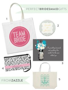 Bridesmaid Gifts + Personalized Accessories from Zazzle  Read more - http://www.stylemepretty.com/2013/08/20/personalized-bags-wedding-accessories-from-zazzle/