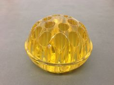 """Rare Large 4.5"""" x 3"""" Yellow Glass Flower Frog Vintage"""