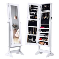 LANGRIA Lockable Jewelry Cabinet Standing Jewelry Armoire Organizer with Mirror Full Length Standing Jewelry Storage 4 Angle Adjustable for Rings Earrings Bracelets Broaches White Finish Mirror Jewellery Cabinet, Jewelry Mirror, Jewellery Storage, Hanging Jewelry, Mirror Cabinets, Storage Cabinets, Dorm Gifts, Rangement Makeup, Beveled Edge Mirror