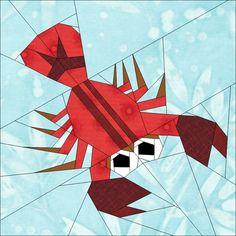 """Lobster 10"""" (25cm) paper pieced block quiltartdesigns.blogspot.com"""