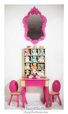 Fabulously styled children's furniture by @TM Jimmie Hoopajibbies for ClassyChicHome. #paintedfurniture #one-of-a-kind #kids #childrenfurniture #decor #design #playplaces #cutedecor #hotpink #limegreen