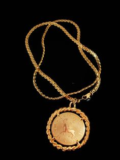 Very fancy outstanding vintage double sided pendant and really fancy well made gold plate chain for your favorite guy who loved coins or has…