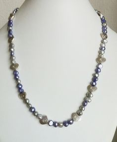 Lavender & silver freshwater pearl necklace