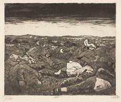 Evening on the Wijtschaete Plain, Nov 1917. Der Krieg #27 by Otto Dix.