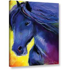 ArtWall Svetlana Novikova Black Horse Pastel Gallery-wrapped Canvas Wall Art, Size: 18 x 24, Yellow