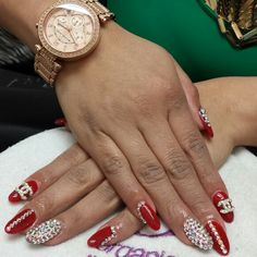 Red, acrilic, acrilic nails, acrilic, organic, organic nails, acrilicas, Swarovski, crystal, Channel