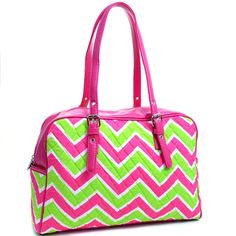 Pink and lime green chevron hand by sewsassybootique on Etsy, $22.99