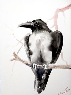 Crow Raven original watercolor painting 12 X 9 in by ORIGINALONLY, $32.00