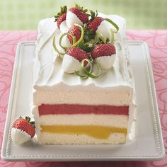 Cake  1 box Betty Crocker® SuperMoist® white cake mix Water, vegetable oil and egg whites called for on cake mix box 1 pint (2 cups) mango sorbet, softened 1 pint (2 cups) strawberry sorbet, softened  Frosting  1 1/2 cups whipping cream 1/2 cup powde -After a great meal, enjoy an e-cigarette with your prefered e-liquid flavor at www.e-cigarilicious.com #ecigarette #eliquid #ecig #vaporizer