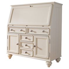 Work from home, balance your checkbook, or pen thank you notes at this classic secretary desk, showcasing 5 bottom drawers and 2 cabinets for all your ess...