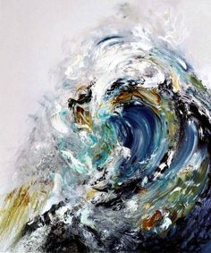 oil painting, tidal waves in a way