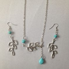 ❗️final  sale❗️Turquoise Leaf/Branch Set NWOT turquoise branch/leaf set. Necklace an earrings. Jewelry Necklaces