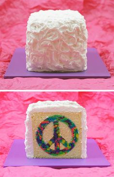 How To Make A Tie-Dye Cake | Handmade Charlotte. Instead of peace sign I've seen them with numbers for a birthday