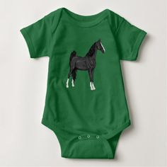 #black - #American Saddle-bred Horse Baby Bodysuit