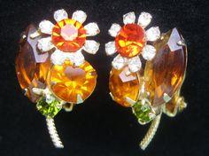 Vintage Topaz, Orange and  Peridot Green Rhinestone Flower Clip On Earrings