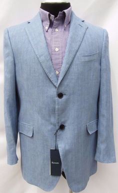 Façonnable NWT 100% Linen Blue Iris Herringbone 2 Button Blazer Sport Coat 42 S  #Faonnable #TwoButton #Blazer