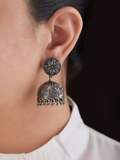 The Loom- An online Shop for Exclusive Handcrafted products comprising of Apparel, Sarees, Jewelry, Footwears & Home decor. Gold Jhumka Earrings, Jewelry Design Earrings, Antique Earrings, Metal Jewelry, Boho Jewelry, Jewelry Shop, Beaded Jewelry, Antique Jewellery Designs, Antique Jewelry