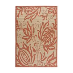 Charlton Home Wilbourn Natural / Red Outdoor Area Rug Rug Size: