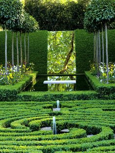 Formal garden water features.