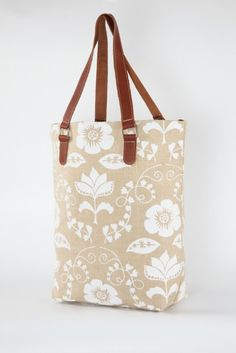 using white paint. Natural Jute and Leather Tote