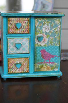 modern vintage bohemian patchwork bird floral trinket velvet turquoise boho chic heart  jewelry box