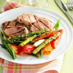 Grilled Pineapple Pork & Vegetables Recipe -Celebrate spring with a tasty grilled dinner. The pork takes just an hour to marinate, so you'll enjoy a little hands-free time with this carefree meal. —Taste of Home Test Kitchen