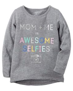 Kid Girl Long-Sleeve Awesome Selfies Graphic Tee from Carters.com. Shop clothing & accessories from a trusted name in kids, toddlers, and baby clothes.
