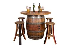 Wine Barrel table set with cabinet base has a cabinet door that opens to a wine barrel head lazy susan shelf. Table top is constructed from four wine barrel heads with original French stamps. Table set comes with a removable Lazy Susan on top
