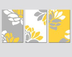 Floral Wall Art Modern Floral Art Prints Floral Wall Decor Floral Set of 3 Floral Prints or Floral Canvas Art Yellow Gray Floral Art Prints Art Floral, Art Mural Floral, Floral Prints, Canvas Art, Canvas Prints, Art Prints, Mini Tela, Flower Art, Decoration