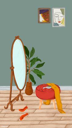 Download premium illustration of Messy girl room mobile phone wallpaper วอลเปเปอร์