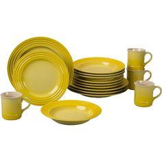Le Creuset Soleil dinnerware service for eight | Home >> Coffee & Tea >> Water Dispensers >> Le Creuset 16 Piece Soleil ...