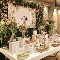 Adding some Posh Fairy dust to the cutest Bambi theme! 1st Birthday Party For Girls, Girl Birthday Themes, Baby Party, Baby Birthday, Baby Shower Parties, Elegant Birthday Party, Birthday Ideas, Girl Baby Shower Decorations, Birthday Party Decorations