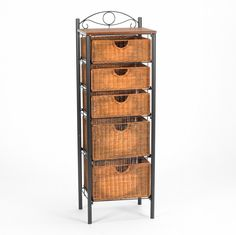 5 Drawer Storage Unit w/ Wicker Baskets - Versatile Tower - Wrought Iron Frame Drawer Storage Unit, Cabinet Shelving, Storage Rack, Storage Shelves, Storage Baskets, Storage Chest, Linen Storage, Chest Drawers, Rattan