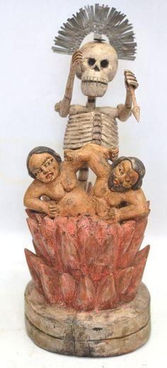 "Purgatory ""Ánimas"" sculpture Guatemala, altar folk art; 14"" x 8""  ref: eBay"