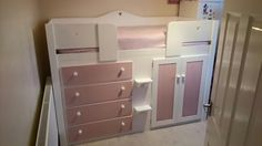 4 Drawer cabin bed in white and princess pink. This cabin bed was designed to be the perfect bed for a little princess. Aspenn Furniture make bespoke cabin beds designed by you from solid natural woods so we can structurally guarantee our furniture for 25 years. You can design the bed from the colours, handles, layout and even hinge colour. We make all furniture in our Yorkshire based workshop then deliver and assemble it for you. Visit www.aspennfurniture.co.uk or contact us on 01937 843386