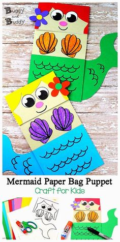Mermaid paper bag puppet craft for kids with free printable pdf mermaid template Paper Bag Crafts, Paper Bags, How To Make A Paper Bag, Paper Bag Puppets, Mermaid Crafts, Mermaid Art, Ocean Crafts, Fish Crafts, Puppets For Kids