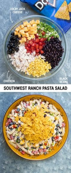 Simply toss with black beans, cherry tomatoes, cubed Colby Jack cheese, and a homemade salsa ranch dressing and top with Cool Ranch Doritos! Ranch Pasta, Ranch Chicken, Chicken Pasta, Salad Chicken, Doritos Chicken, I Love Food, Good Food, Yummy Food, Cooking Recipes