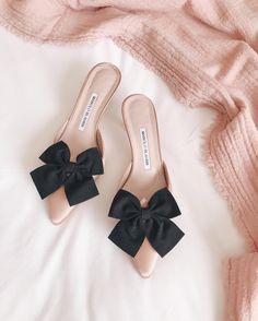 Manolo Blahnik, blush shoes with black bows. Manolo Blahnik Heels, Black  Bows, be2aef71b97