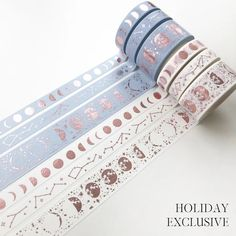 """""""Lunar Magic - Holiday Edition"""" is a PapergeekCo exclusive with Rose Gold foil. Come in a set of 3 in the color White and Powder Blue Starlight Constellation x Moonphase x Phase x **Visit our Washi Tape section to see more exclusives! Washi Tape Storage, Washi Tape Set, Duct Tape, Masking Tape, Washi Tape Planner, Japanese Stationery, Kawaii Stationery, Bullet Journal Aesthetic, Bullet Journal Art"""