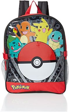 Pokemon Big Boys Pocket 15 Backpack with Lunch Kit Red 15 -- This is an Amazon Affiliate link. To view further for this item, visit the image link.