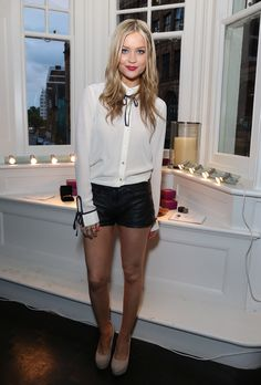 Leather shorts: Laura Whitmore at Obika