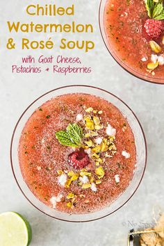 Chilled Watermelon & Rose Soup {with goat cheese & pistachios}