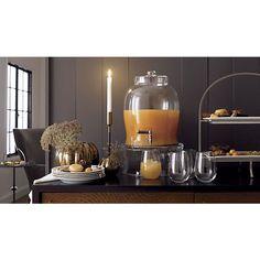 Entertaining Beverage Server, Cambridge 2-Tier Server, Stemless Wine Glass, Emery Large Taper Holder, Bronze Pumpkin Vases