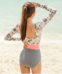 Stylish Striped Backless Long Sleeve One-Piece Swimsuit For Women (AS THE PICTURE,XL) | Sammydress.com Mobile
