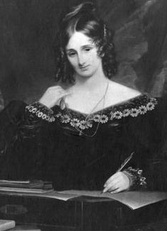 Mary Shelley ~ The story of Frankenstein started one summer in 1816 when Mary joined Percy, Claire Clairmont, and Lord Byron near Geneva.  On a bet, she accepted the challenge of writing the most frightening ghost story possible.  With her husband's encouragement, she completed the novel within a year.