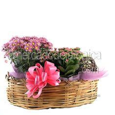 Canasta Ovalada con Flores| Envia Flores