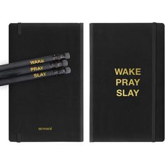 Wake Pray Slay Journal ($25) ❤ liked on Polyvore featuring home, home decor and stationery