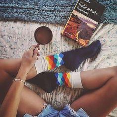 My morning coffee is Art Happy & Funny Socks! Polka Dot Socks, Striped Socks, Funky Socks, Crazy Socks, Food Socks, Sock Store, Nora, Make Smile, Sock Animals