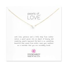 Dogeared Pearls of Love Small White Pearl Necklace, Gold Dipped